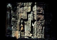 雕刻ankor wat的复杂墙壁 库存图片