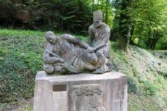 雕刻Cesky Sternberk城堡,捷克前面  库存图片