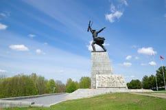 雕刻Peremilovskaya高度的战士, Yakhroma,俄罗斯 库存图片