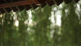 雨下落特写镜头下降在后照从屋顶的在暴雨期间 慢动作录影 影视素材