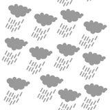 雨云象,无缝的几何啪答声/背景设计 现代时髦的纹理 重复和编辑可能的传染媒介例证 向量例证