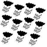 雨云象,无缝的几何啪答声/背景设计 现代时髦的纹理 重复和编辑可能的传染媒介例证 库存例证