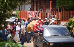 雨仪式节日发埃Khon Nam跳舞游行  图库摄影