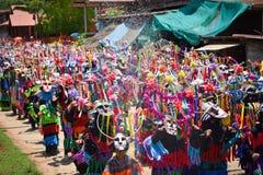 雨仪式节日发埃Khon Nam跳舞游行  免版税库存图片
