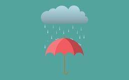 雨伞黑暗的云彩平的传染媒介autmn秋天 免版税库存图片