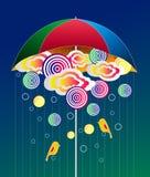 雨和伞摘要 免版税图库摄影