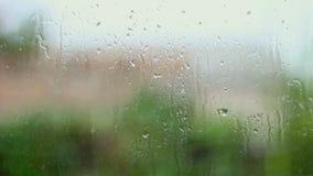 雨和水下落下跌在玻璃的在雨风暴期间,关闭  股票录像