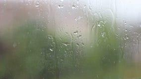 雨和水下落下跌在玻璃的在雨风暴期间,关闭  股票视频