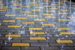雨在城市 在多雨天气的湿铺的瓦片 飞溅镭 免版税库存图片