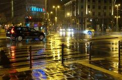 雨在晚上在布达佩斯 免版税库存图片