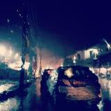 雨在晚上 免版税库存照片