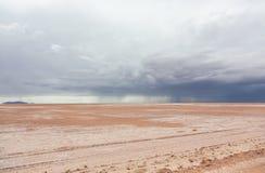 雨在沙漠 免版税库存照片