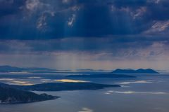 雨在爱奥尼亚人海岛 免版税库存图片
