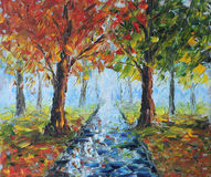 雨在秋天公园,油画 图库摄影