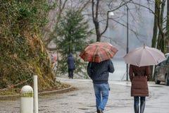 雨天和人们有伞的 库存照片