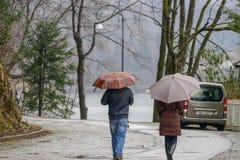 雨天和人们有伞的 免版税库存照片