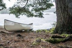 雨天在两个河白色空白的独木舟独木舟Canada安大略湖在海岛上停放了在阿尔根金族国家公园 图库摄影