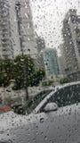 雨天在车窗后的迈阿密 免版税库存照片