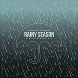雨季背景和伞边界线标记传染媒介设计 库存图片