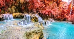 雨林瀑布,在琅勃拉邦, Loas的Tat匡Si瀑布全景  库存照片