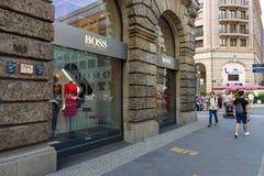 雨果在Friedrichstrasse的上司精品店 库存图片