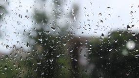雨水下落在玻璃的 库存照片