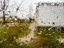 雨珠在一天夏天雨 库存图片