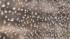 雨珠在窗口栅格的水下落 免版税库存图片