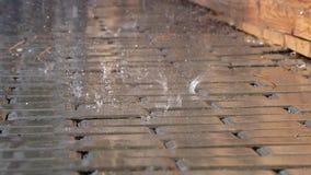 雨秋天下落在水坑 雨的录影特写镜头在小径的 生活在城市 股票视频