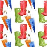 雨靴和伞在白色背景,无缝的水彩样式 免版税库存图片