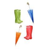 雨靴和伞,水彩季节标志,设计的手拉的元素 免版税库存图片