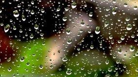 雨水滴在玻璃的在房子的背景 股票录像