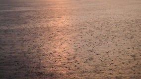 雨水滴湖表面上的 股票录像
