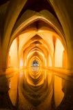 雨水浴,城堡,塞维利亚,安达卢西亚,西班牙 免版税库存照片