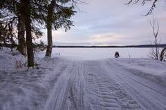 雪上电车和森林 免版税库存照片