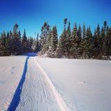 雪上电车轨道风景instagram在雪的 库存图片