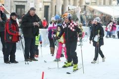 滑雪与伊维察Kostelic的孩子 图库摄影