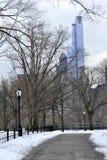 雪之间的道路在中央公园 免版税库存照片