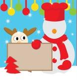 雪人厨师为圣诞节 库存照片