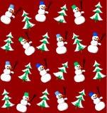 雪人和冷杉无缝的模式 免版税库存图片