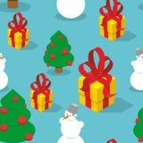 雪人和圣诞树无缝的样式 背景上色节假日红色黄色 库存图片