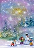 雪人和孩子 图库摄影