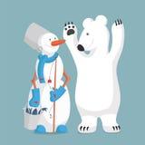雪人和熊渔 免版税库存照片
