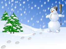雪人和结构树 图库摄影