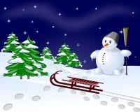 雪人和结构树 库存图片