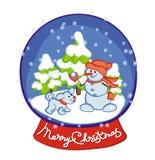 雪人和雪狗戏剧雪球-圣诞快乐 库存图片