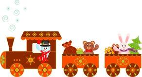 雪人圣诞节礼物极性快车例证 库存照片