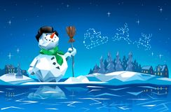 雪人在与圣诞老人雪橇星座的圣诞夜我 图库摄影