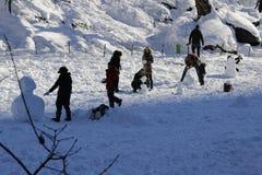 雪人在中央公园 免版税库存照片
