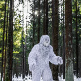 雪人在冬天森林室外幻想照片的童话字符 免版税图库摄影